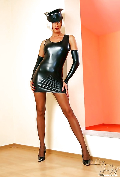Sexy mistress lily in hot latex clothes and cool vintage pantyhose - part 935