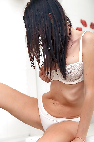 Skinny mum lara lost vibrated her snatch in her white lingerie in bathroom - part 8